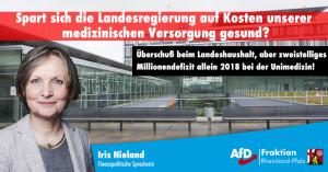 Iris Nieland (AfD) über das Defizit der Universitätsmedizin: Landesregierung muss die Universitätsmedizin Mainz nachhaltig entlasten