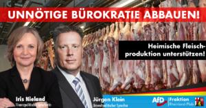 Iris Nieland und Jürgen Klein (beide AfD): Tierwohl durch regionale Lieferketten – Heimische Schlachthöfe unterstützen