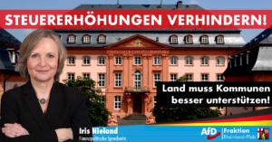 Iris Nieland (AfD) zu den gestiegenen Hebesätzen rheinland-pfälzischer Kommunen: Nur Unterstützungen des Landes können weitere Erhöhungen verhindern
